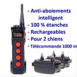 Kit de 2 colliers Anti-Aboiements 10 niveaux avec télécommande de dressage 1000m